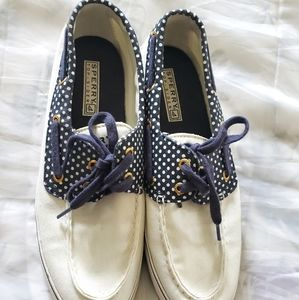 Sperry white cloth loafers